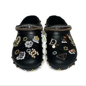 Minimal Slay Black Fleece Crocs Designer Charms